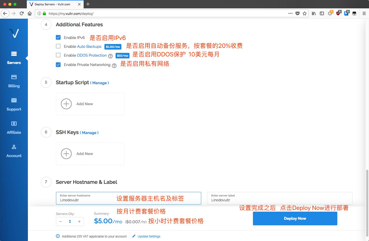 vultr-deploy-new-server-enable-services-setting-hostname-label
